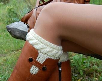 Hand knit Boot Cuffs, Knitted Boot Cuffs, Boot Socks, Wool Boot Cuffs,Womens Boot Cuffs, Leg warmer, Womens Boots Socks