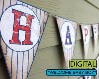 """Vintage Baseball Baby Shower Banner """"Welcome Baby Boy"""""""