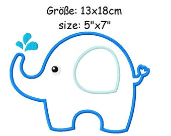 Embroidery Applique Baby elephant 5'x7' - DIGITAL DOWNLOAD PRODUCT