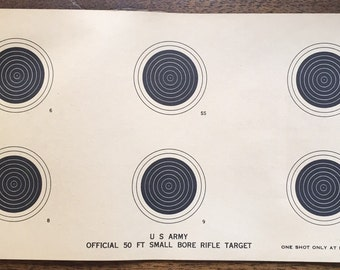 Vintage U.S. Army Official 50 FT. Small Bore Rifle Target