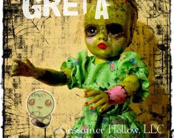 GRETA-OOAK Goth Creepy Horror Punk Art Doll Zombie