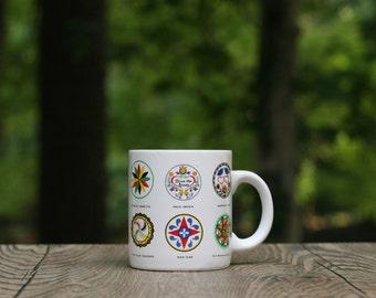 Vintage Good Luck Hex Sign Mug / Pennsylvania Dutch Hex Sign Mug / Hex Sign Novelty Cup