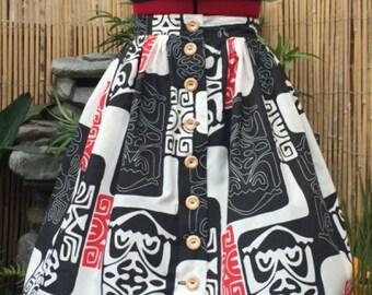 Tribal tiki gathered skirt