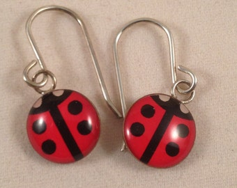 Lovely ladybug sterling silver earrings