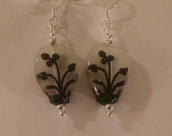 White Glass Drop with Black Floral Design Item No. 66