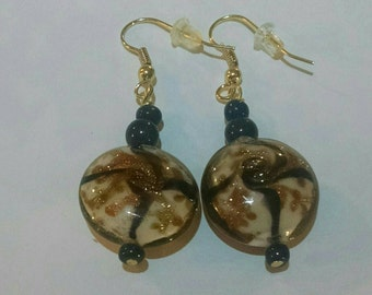 Gold and Black Sparle Round Glass Bead Earrings Item No. 67