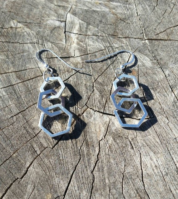 Triple Hexagon Earrings in Sterling Silver