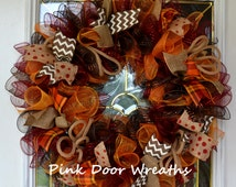 Fall THANKSGIVING wreath BEST seller dark chocolate brown orange maroon red burgundy chevron burlap mesh rich colors Made to Order