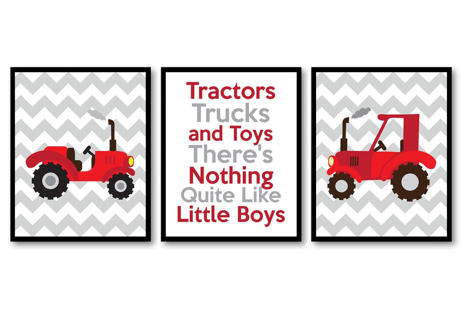 Tractor Nursery Art Tractors Trucks and Toys Theres Nothing Quite Like Little Boys Prints Set of 3 R