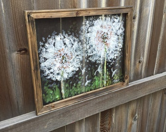 Dandelion hand painting on screen,Rustic Dandelion, outdoor art,hand painting on screen,