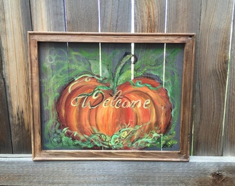 Welcome fall pumpkin screen-Made to order