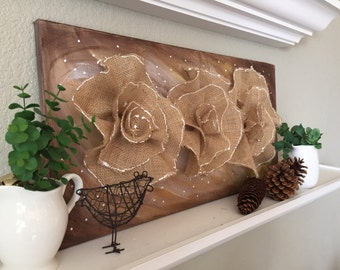 Hand made burlap flowers on canvas, shabby chic