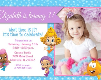 Bubble Guppies Birthday Party Invitation - Digital File