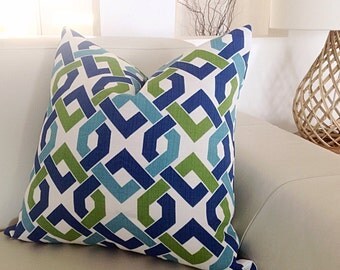 Modern Cushions Indoor/Outdoor Pillow Covers, Teal,Blue, Green,. Coral, Lime, Turquoise, Yellow, Grey Outdoor Pillow Caribbean Blue Pillow.