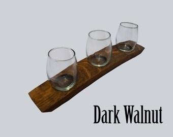 The Original 3 Glass Wine Flight/ Wine Barrel Stave/ Dark Walnut/ wine tasting set/wine tasting flight/ Barrel Art
