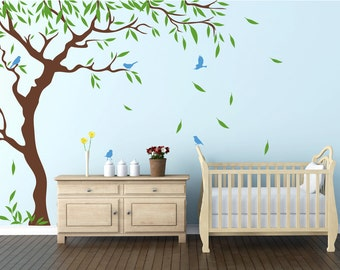 Nursery Tree Birds And Flying Leaves Decal Ideas Stick On Wall Art Decals  For Walls Personalized