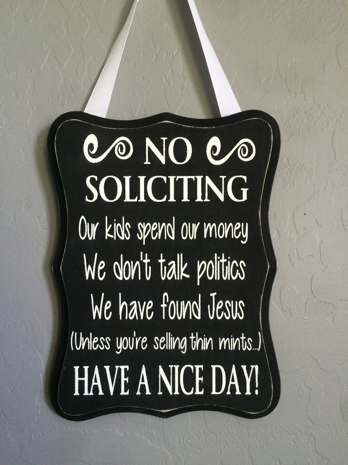 No Soliciting Sign Funny Signs Wooden Sign No Solicitors