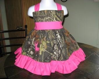 Girls Camo Dress. Camo Wedding Item. Orange and Camo Dress