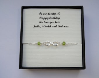 Infinity bracelet gift, Sterling silver Infinity peridot bracelet, Infinity bracelet, August birthstone bracelet, Friendship gift