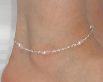 Rose quartz and pearl anklet, Silver chain rose quartz and pearl ankle bracelet, Ankle jewelry, Ankle bracelet UK, Gemstone and pearl anklet
