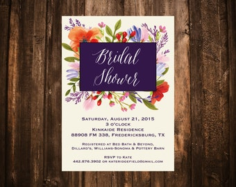 Meadow Floral Bridal Shower Invitation; Purple & Red; Printable OR set of 10