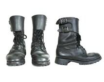 Vintage MARBOT NUEVIC Combat Boots - Black Leather Lace Up Boots / Rangers - Women's 9 10 Men's 7 8