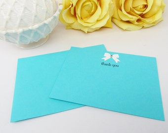 Breakfast at Tiff..Thank You Card Set, Pool Blue Thank You Note Card, Aqua Blue Thank You Post Card, Wedding Thank You Card, Thank You Card