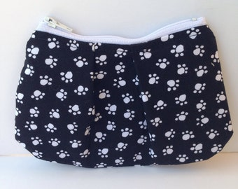 Black and White Paw Prints Pleated Zippered Coin Purse Pouch Pencil Bag