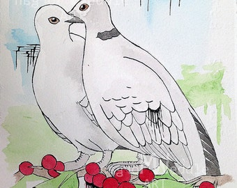 "Original ""Christmas Birds"" Painting Set - 3 Pcs"