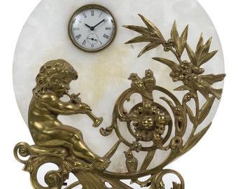 19th century Art Nouveau Clock Alabaster Disk w/Bronze Cherub