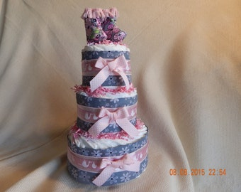 Pink and Grey Daisy Diaper Cake