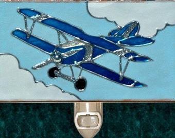 Biplane Airplane Night Light for Boys Room, Kids Airplane Decor Childrens Nightlight Plane Airplane Nursery Decor Travel Theme Biplane Art