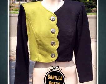 "Vintage 1980's/80's-1990's/90's, All That Jazz"": Women Medium/M, Yellow-Green Black Colorblock Color Block Boxy Crop CROPPED BLAZER JACKET"