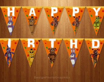 Five Nights at Freddy's Printable Birthday Banner Instant download