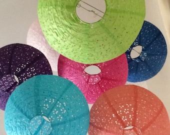 Set of 3 or 5 Eyelet Lace 12-inch Paper Lanterns Set