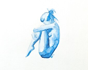 "Fine Art Print, blue Watercolor, nude woman, figure, ""Clementine,"" 8x10"
