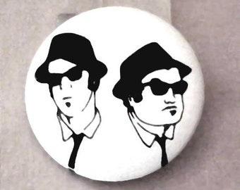 Original BLUES BROTHERS Jake and Elwood Promo Button Pin back Aykroyd and Belushi 1978