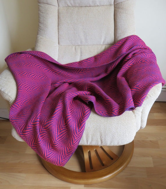 Hand Woven Lap Blanket Pink And Purple Cotton Afghan Lap