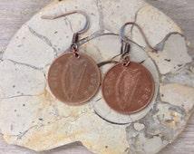 1996 Irish coin earrings, penny earrings, 19th birthday or anniversary gift, old Irish money jewelry, lucky irish coin