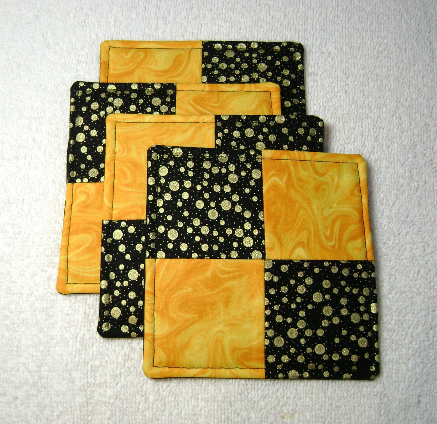 Kitchen coasters fabric coaster sets quilted coasters 4 for Quilted kitchen set