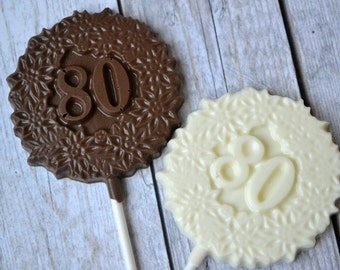 80th Birthday Chocolate Lollipops - 80th Birthday Party Favor - Chocolate Number 80 - Eightieth Birthday - 80th Birthday Lollipop - 80