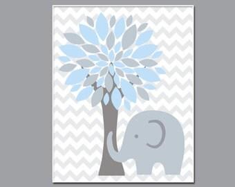 Elephant and Tree Nursery Art Print, Wall Art Prints, Blue and Gray Nursery Prints, Baby Boy Nursery Wall Art Print and Bedroom Decor- N21