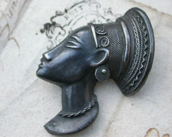 French African Brooch Art Deco Sterling Silver