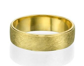 5.7mm 14k Yellow Gold Bevelved Brushed Men's Wedding Ring