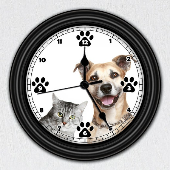 Cat dog unique wall clock handmade gift pet by clocksgalore for Unusual dog gifts