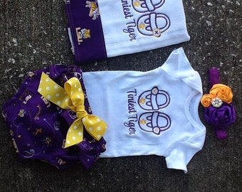 LSU Tigers Onesie and Diaper Cover Set
