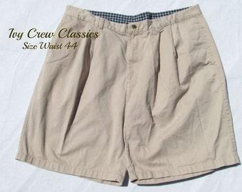 men's pleated front  shorts, tan shorts,men's 90's shorts, men's dress shorts,size 44 shorts,   # 101