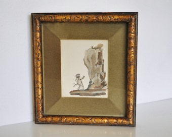 Vintage Cupid Lithograph in Gilt Wood Frame With Green Velvet Liner