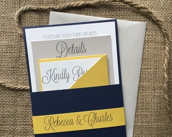 Modern Navy and Yellow Wedding Invitation, Simple and Elegant