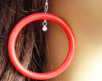 VINTAGE HOOP earrings Red Earrings Hoop Earrings Pipe Hoops 3 in l 2.5 in w